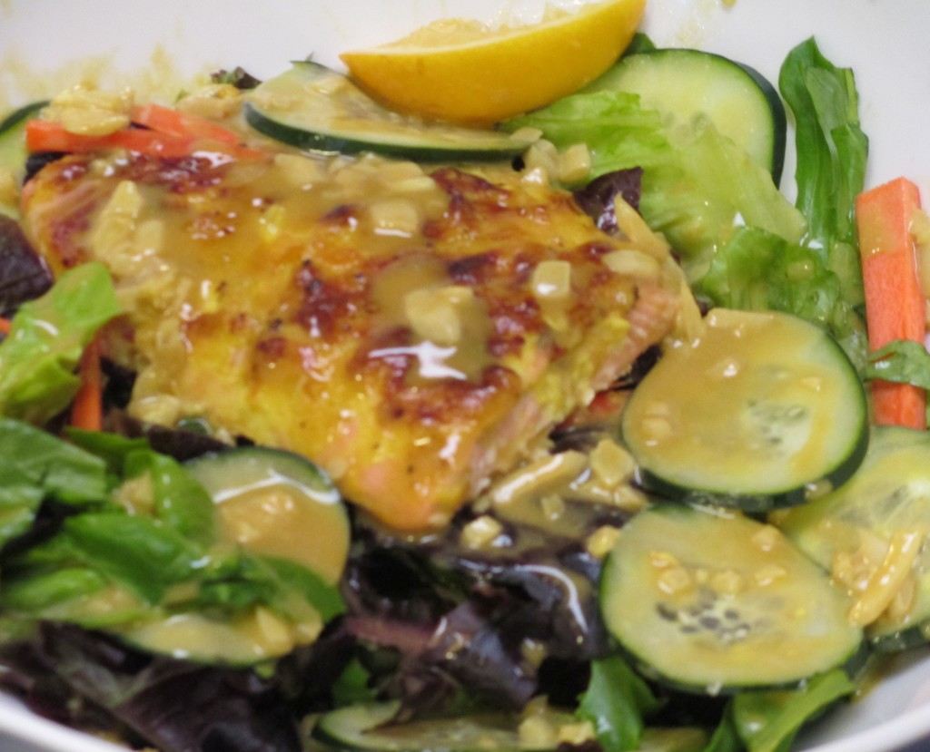 Garlic Honey Dijon Salmon Salad with Honey Dijon Balsamic Vinaigrette