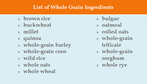 List of Whole Grain Ingredients