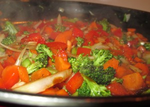 Sautéing Veggies - Red Peppers, Onions, Broccoli, Garlic, Carrots
